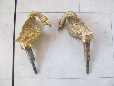 Very Rare Godfrey Bonsack Reclaimed Gold Plated Swan Bathroom / Sink Taps X2