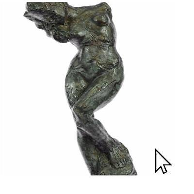 Signed Bronze Classic Sculpture Nude Female Woman French Rodin Statue On Marbl A