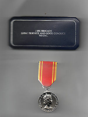Fire Brigades Long Service Medal E.ii.r. Full-Size Replacement With Original Box