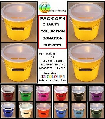 Pack Of 4 Charity Collection  Buckets Donation Boxes + Lids + Labels +  Ties
