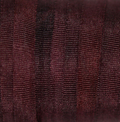 Variegated Hand Dyed Silk Ribbon for embroidery 4mm - 3 meters Dark Bordeaux