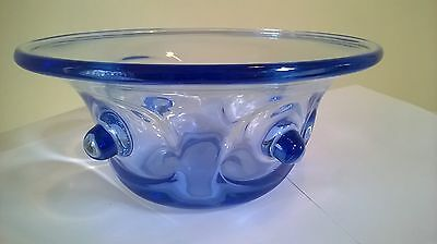 Whitefriars James Powell sapphire blue bowl with knobbly effect,not signed large