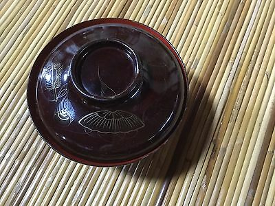 Japanese '50s wooden WAN soup bowl, fine gold-lacquered design