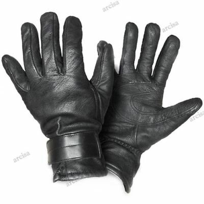 Original Austrian army black leather gloves. Wool lined army leather gloves