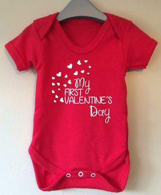 My First Valentines Day Baby Body Vest Baby Gro Gift Idea Girl Boy
