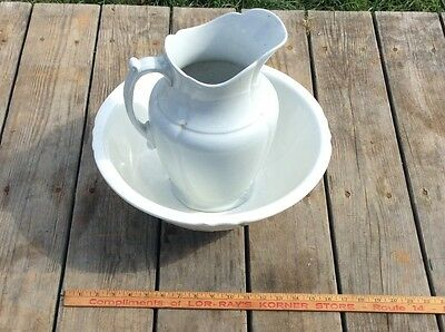 Vintage Matching White Water Basin & Pitcher , Two Different Makers,