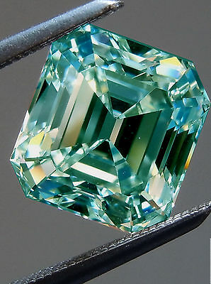 5.20 ct SI1/GREEN BLUE COLOR LOOSE EMERALD REAL MOISSANITE  TESTED US SELLER