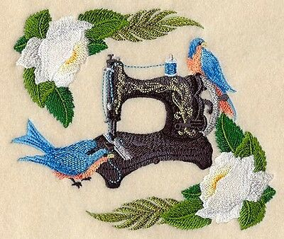 Finished Embroidery Antique Sewing Machine And Bluebirds