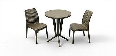 Patio Bistro Set Brown Rattan Garden Table & 2 Chairs Outdoor Balcony Furniture