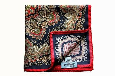 Battisti Pocket Square Navy with red/olive/gold paisley, pure silk