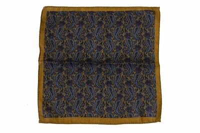 Battisti Pocket Square Rusty gold with blue/wine paisley, pure wool