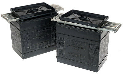 Two (2) 4x5 Kodak Hard Rubber Film Tank w/15 Stainless Hangers + Cover