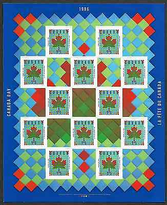Canada Stamps - Full Pane of 12+Labels - Canada Day: Maple Leaf Quilt #1607a MNH