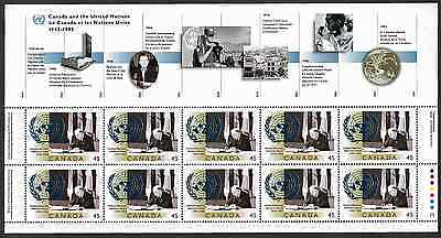 Canada Stamps - Full Pane of 10 - 50th anniversary of United Nations #1584i -MNH