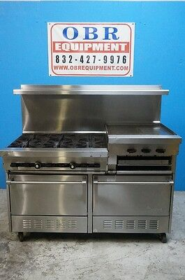 """60"""" Garland 6 Burner Sunfire Natural Gas Range With 1 24"""" Raised/ Broiler And 2"""