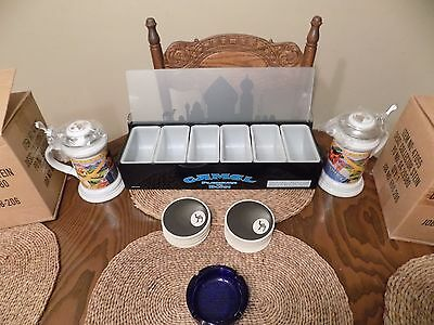 Camel Cigarette Bar Set Up Bar Tray 2 Beer Steins 1 Ashtray 50 Coasters All NEW