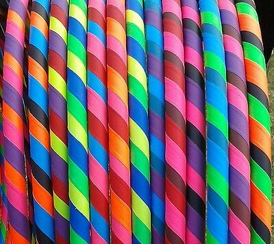 "Rainbow Dragon 25mm x 36"" UV Grip HULA HOOP (MDPE/Large/Adult//Weighted/Tape)"