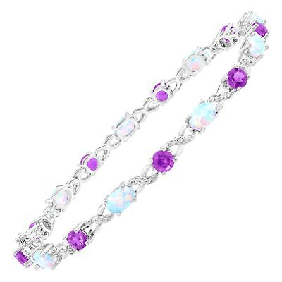 4 1/3 ct Natural Amethyst & Created Opal Bracelet with Diamonds Sterling Silver