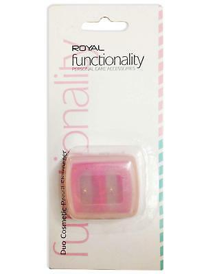 Royal Cosmetic Pencil Sharpener Duo With Case 2 Sizes Lip Eye Crayon