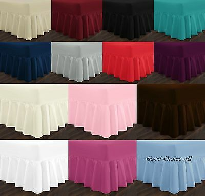 Plain Soft Poly-Cotton Fitted Valance Bed Sheet Single Double & King Sizes