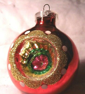 vintage glass jumbo christmas ornament austria indent gold glitter