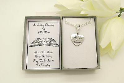 In Loving Memory Necklace.A Piece Of My Heart Is In Heaven.Memorial,Remembrance