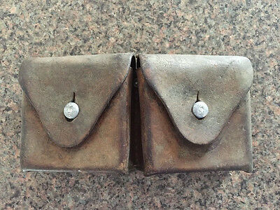 Vintage Swedish Army Double Leather Ammo Pouch Leather
