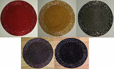 Set Of 4 30 Cm Glass Beaded Placemats