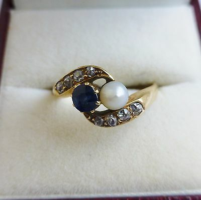 Stunning Antique Edwardian Diamond And Sapphire/Pearl 18ct Ring Chester