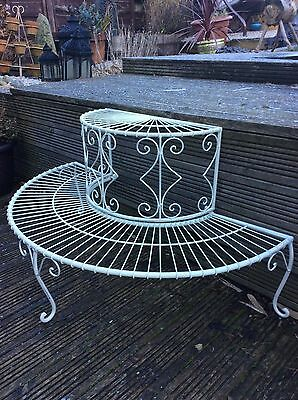 Metal Plant Stand, Two Tier, Shabby Chic Cream Finish,garden,terrace,patio