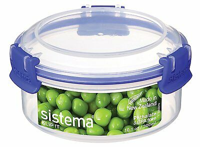 Sistema KLIP IT Round Food Storage Container 300 mL - Clear with Blue Clips