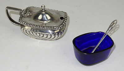 1901 Asprey & Co Sterling Silver Footed Conditment W/ Cobalt Liner
