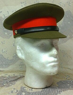MILITARY ARMY OFFICER'S FIELD SERVICE PEAKED CAP, FANCY DRESS COSTUME SIZE 54cm