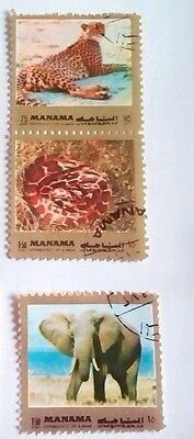 Manama Stamps - 1972 - birds and animals