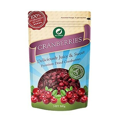 All Green Dried Cranberries 500g- Natural Healthy Superfood Vegan