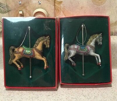 "2 CAROUSEL Horse Ornaments 4 3/4"" Tall Mint In Box"