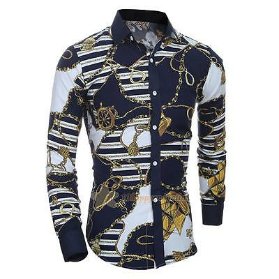 Luxury Mens Casual Shirt Long Sleeve Slim Fit Stylish Cotton Dress Shirts Tops
