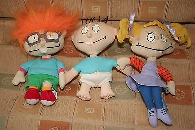 Lot Set 3 Rugrats Plush Tommy Angelica Chuckie Pickles - Applause