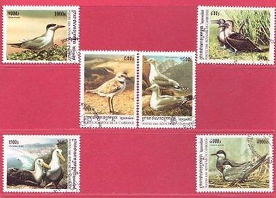 Cambodia Year 2000 Sea Birds Set of 6 SG 2018 to 2023 - Circular Date Stamp Used