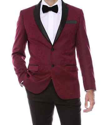 New Men's Burgundy Tuxedo Paisley Super Slim Fit Rare Jacket Formal TUXXMAN Tux