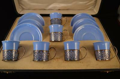 SHELLEY PRESENTATION  SET OF SILVER MOUNTED COFFEE CUPS AND SAUCERS - c1921