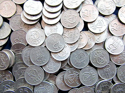 LOT 100pcs SWEDEN GUSTAF IV 1962-1973 25 ORE COINS, OUT OF CIRCULATION