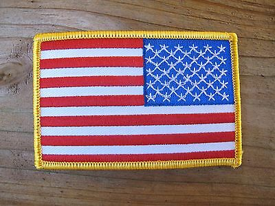 AMERICAN FLAG EMBROIDERED PATCH iron-on YELLOW BORDER USA US United States RIGHT
