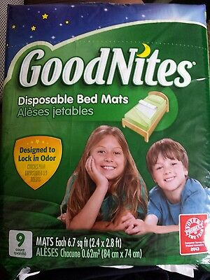 New Goodnites Disposable Bed Mats, Quantity 9, Polypropylene, Twin Size Bed