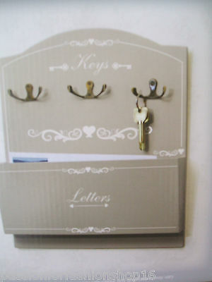 Bnwb Shabby Chic Ornate Key Hooks & Letter Post Holder Rack Wall Hanging Hearts