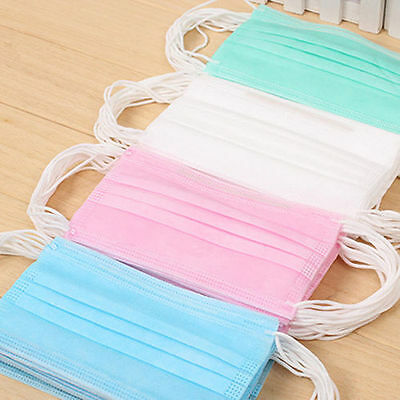 50pcs Anti-Dust Disposable Surgical Medical Salon Flu Earloop Face Mouth Masks