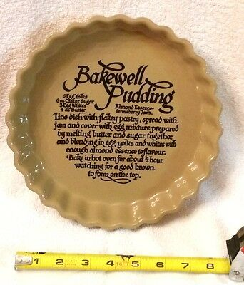 Pearsons of Chesterfield Bakewell Pudding Recipe Pie Dish Plate England 9""