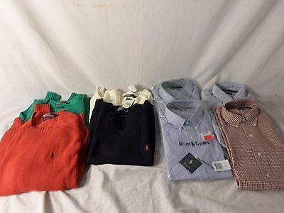 Lot of 8 Medium Ralph Lauren Polo Sweaters, Vests, and Button Up Shirts   -  EBU