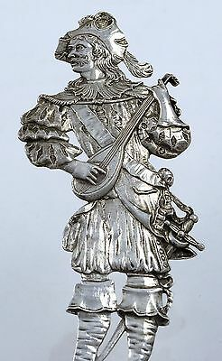 Massive German 800 Silver Figural WEDDING SPOON Male in Court Dress 11.5""