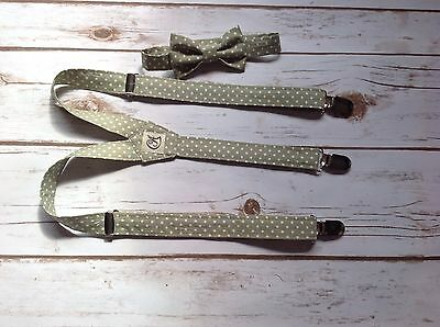 Children's Sage green braces and bow tie. Handmade (Baby, Toddler And Boys)